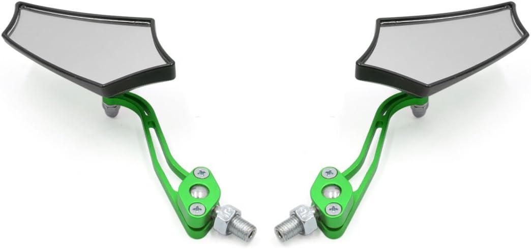 sourcingmap Green 8mm 10mm Thread Dia Adjustable Rearview Mirror for Motorbike