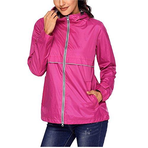 coat Lightweight Waterproof Rain Jacket Hoodie Active Casual Coat Rosy L ()