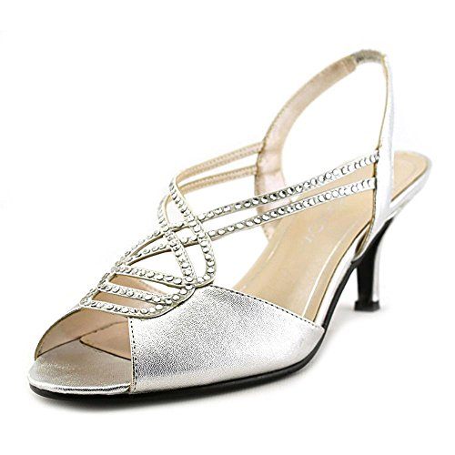 Caparros Womens Philomena Canvas Open Toe Formal, Silver Metallic, Size 7.5