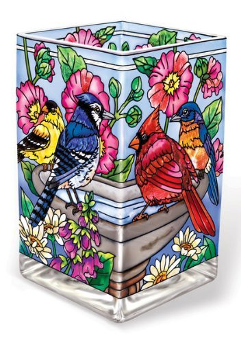 Amia 41762 Hand-Painted Glass Vase/Votive, 6-Inch High, Songbird Design - Bird Hand Painted Vases