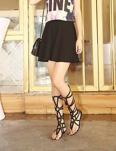 ShangYi Women's Shoes Low Heel Gladiator / Open Toe Sandals Casual Black / Gold Black LMwNuiesM