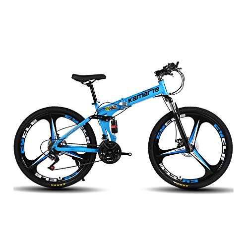 "Omeng Shock speed mountain bike bicycle folding aluminum alloy 24/26 inch dual disc brakes (21speed) (Blue, 24"") Review"