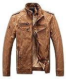 ZSHOW Men's Vintage Fleece Motocycling PU Leather Jacket(Khaki,X-Small)