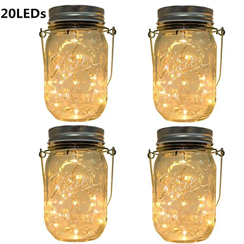 Cheap  CHBKT 4-Pack Solar-powered Mason Jar Lights (Mason Jar / Handle Included),20 Bulbs..