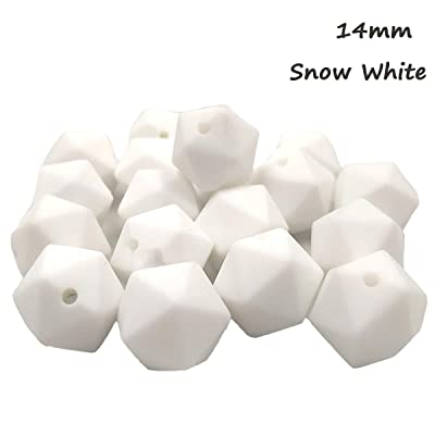 50pcs Silicone Icosahedron Beads for Teether 14mm Polygonal Beads DIY Baby Teething Chewing Jewelry Necklace/Bracelet (Snow White): Arts, Crafts & Sewing