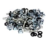 kenable Cage Rack Fixing M6 Captive Nuts, Bolts & Plastic Washers [50 of each]