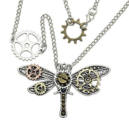 RechicGu Vintage Dragonfly Art Nouveau Deco Watch Clock Hand Gear Cog Steampunk Necklace