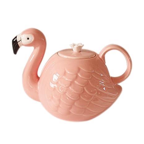 Amazon Com Socosy Cartoon Animal Teapot Cute Ceramic Pink Flamingo