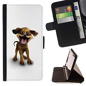 Momo Phone Case / Flip Funda de Cuero Case Cover - Historieta del perro casero blanco 3D Mascotas Canine; - LG Nexus 5 D820 D821