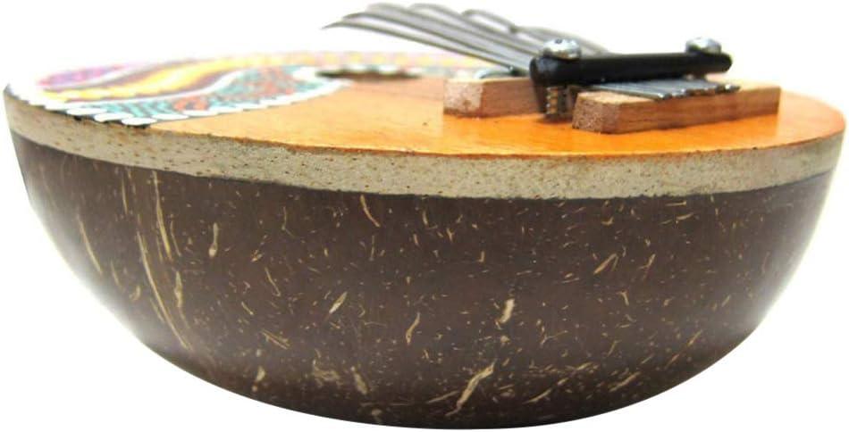 alsu3luy02Ld Instrumento Musical de 7 Teclas Kalimba Pintada con Concha de Coco