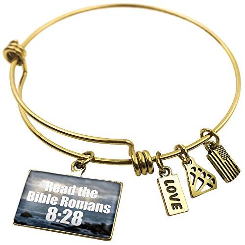 Expandable Wire Bangle Bracelet Read the Bible Romans 8:28, Neonblond (Roman Snake Bracelets)