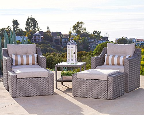 Solaura Outdoor 5-Piece Lounge Chair & Ottoman Furniture Set All Weather Grey Wicker with Neutral Beige Waterproof Cushions & Sophisticated Glass Coffee Side Table | Patio, Backyard, ()