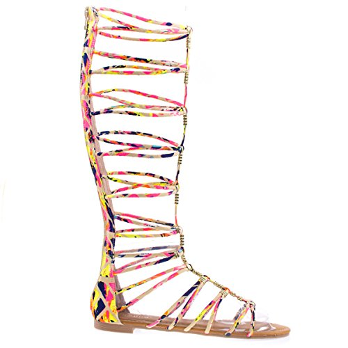 Magical13S PinkFs Gladiator Flat Open Toe Strappy Sandal, Roman / Greek Goddess Shoes. -7.5 (Greek Goddess Sandals)