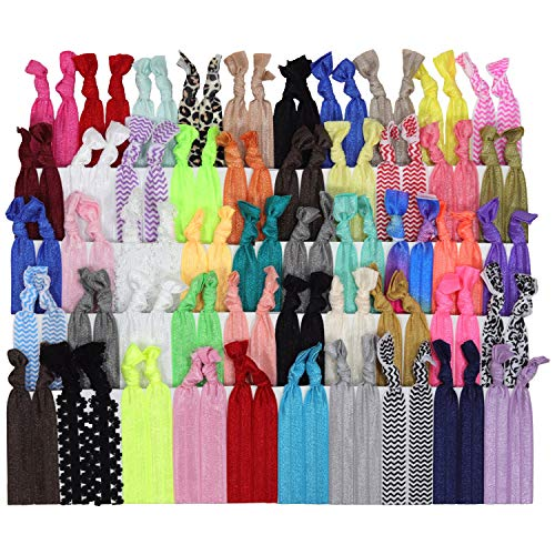 (Kenz Laurenz 100 Hair Ties No Crease Ribbon Elastics Ouchless Ponytail Holders Hair Bands (100 Hair Ties-Prints and Solids))