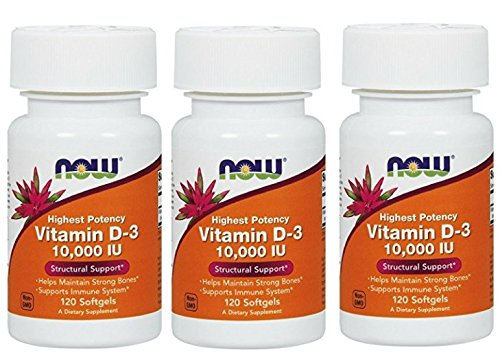 NOW Vitamin D-3 10,000 IU,120 Softgels (360 Softgels)