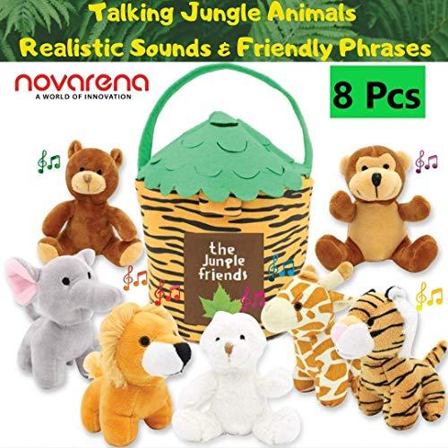 NOVARENA Plush Talking Jungle Animals Toys Set (8 Pcs - Play Sounds) Carrier Kids 1 Year Old & Up| 6