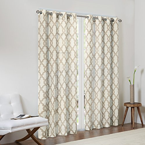 Madison Park Tan Curtains for Living Room, Contemporary Modern Grommet Curtains for Bedroom, Bond Print Modern Linen Window Curtains, 50X95, 1-Panel Pack