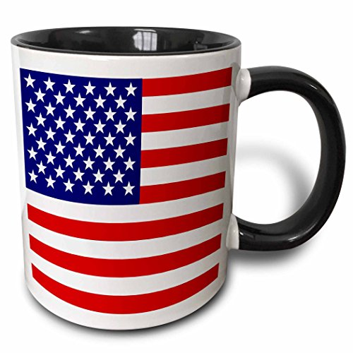 3dRose American Flag Patriotic USA Stars and Stripes Red White and Blue 4Th July America Patriot Two Tone Black Mug, 11 oz, Black/White