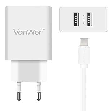 VANWOR Cargador USB C 2 Puertos USB 4.8A 24W Tipo C Casa Viaje Compatible con Samsung S9/S8/S8+ Huawei P20/P10 Mate 20 y Otros Dispositivos con ...