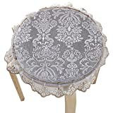 Upscale Velvet Art Round Seat Cushion Round chair cushion Baby rounded pad slip Chair Seat Student Thickened Round Pad Bar Stool Mat (style2, light gray)