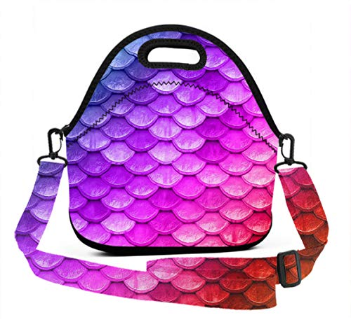 (Lunch Box With Meal Prep Containers/Insulated Lunch Bag Beautiful Colorful Rainbow Mermaid Scales Food Containers Lunch Box Bag For Meal Prep, Leak-Proof, Quick And Simple)