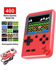 Molyhood Handheld Game Console, Portable Retro Game Player, 2.8-inch display Built in 400 Classical Games, Support TV plus two Players, Recreational Machines Gift Birthday Presents for kids, Adults