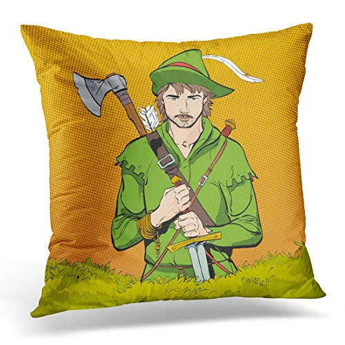 Aportt Yitlon8 Throw Pillow Covers Robin Hood in Hat with Feather Young Soldier Noble Robber Defender of Weak Medieval Legends Heroes Decorative Pillow Case Home Decor Square 18W X 18L Pillowcase