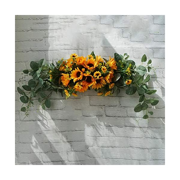 CHicoco Artificial Flower Decoration Artificial Flower Wreath Door Threshold Garland Home Wedding Party Wall Decor Yellow