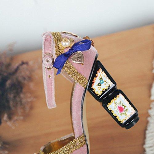 Peep Plate Talons Femmes Soirée Rose Stiletto Chaussures Cristal Hauts De Fleurs Cour Mode Retro Kitzen Sandales Toe Forme Pompe xwIFqC