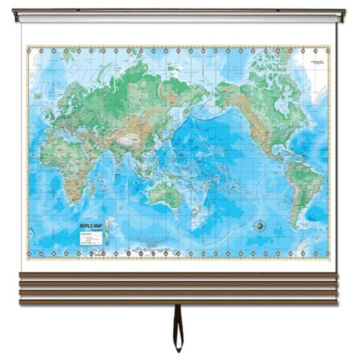 Advanced Physical Wall Map Set on Roller w/ Backboard; 4-Map Custom