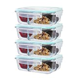 [4 Pack] Healthy Glass Meal Prep Containers Set With Airtight Lids – 3 Compartment Glass Lunch Box Sex (35 Oz)