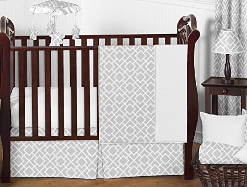 8 Piece Set Baby Bedding (Sweet Jojo Designs 11-Piece Gender Neutral Gray and White Diamond Grey Baby Boy Girl Geometric Bedding Crib Set Without Bumper)
