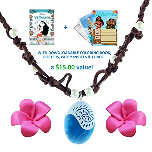 MOANA NECKLACE: Disney Movie Costume Accessory Bundle: Coloring Pages + Posters + (Halloween Printable Coloring Pages Pdf)