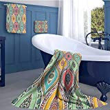 WolfgangDecor Traditional Premium Cotton Extra Large Bath Towel Set Ethnic Ornamental Arabian Middle Eastern Ottoman Persian Bohemian Antique Motif Bathroom hand towels set Multicolor