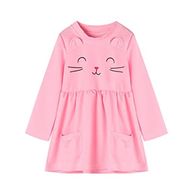 Witspace Infant Baby Girls Kitty Print Long Sleeve Dress Toddler Kids Outfits Clothes
