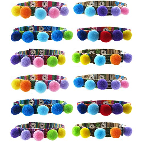 Pom Poms Tribal Woven Adjustable Snap Bracelets for Women,Girls,Kids,Teens I 12 Piece Set | Colorful Faux Fur Dangle Charms | Great Party Favors | US Seller (12 pcs - Bracelets) (Woven Snap)