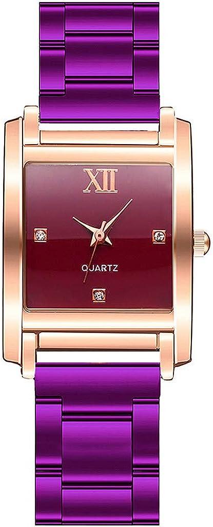 Yivise Mujer Casual Relojes de Cuarzo analógico Reloj de Pulsera de Correa de Acero Inoxidable con Esfera Cuadrada Simple