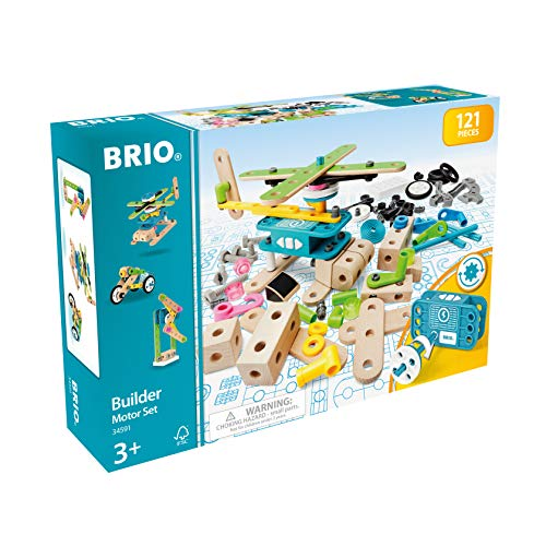 BRIO Builder 34591 – Builder Motor Set – 120 Piece Construction Set STEM Toy with Wood and Plastic Pieces and a Motor for Kids Age 3 and Up