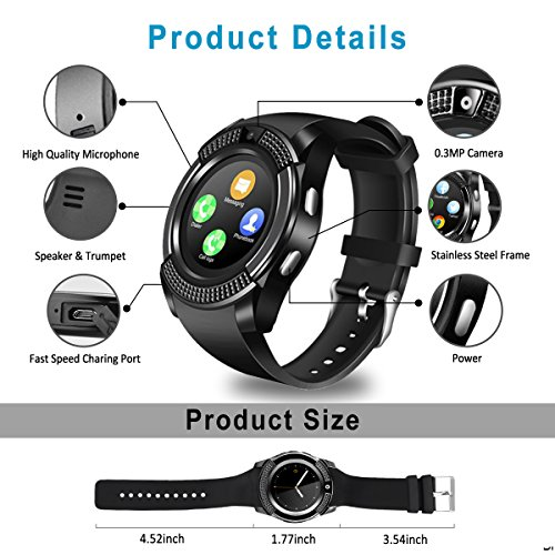 Smart Watch,Bluetooth Smartwatch Touch Screen Wrist Watch with Camera/SIM Card Slot,Waterproof Phone Smart Watch Sports Fitness Tracker for Android iPhone IOS Phones Samsung Huawei for Kids Women Men by Topffy (Image #5)