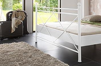 SAM/® Metallbett 140x200 cm Ivrea Bettgestell wei/ß Filigrane Verzierungen Blickfang f/ür G/ästezimmer Schlafzimmer