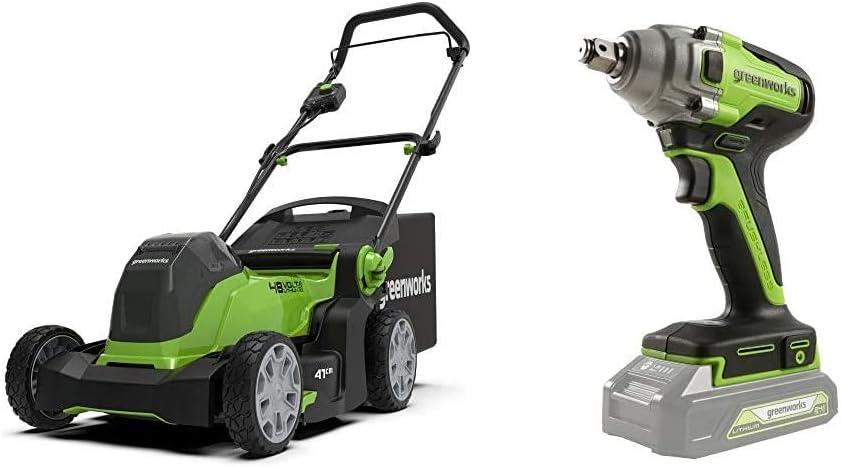 Greenworks Cortacésped con batería G24X2LM412x + Llave de Impacto inalámbrica de batería