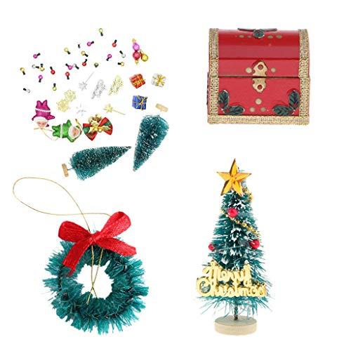 (Brosco Dollhouse Miniature Festival Decor Christmas Tree, Wreath, Gift Boxes)