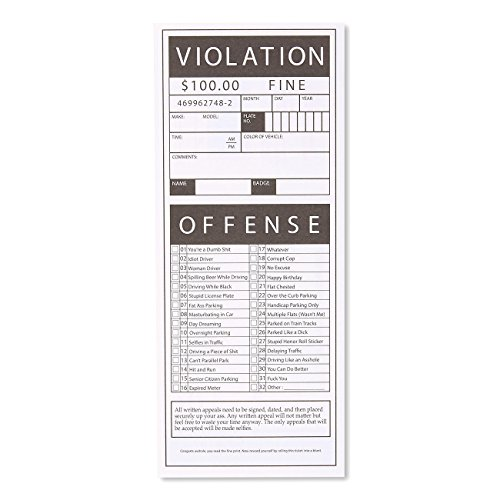 100 sheet fake parking tickets large offense checklist gag gift adult novelty gifts altavistaventures Images