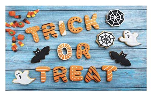 Lunarable Halloween Doormat, Fresh Trick or Treat Gingerbread Cookies on Blue Wooden Table Spider Web Ghost, Decorative Polyester Floor Mat with Non-Skid Backing, 30 W X 18 L Inches, Multicolor -