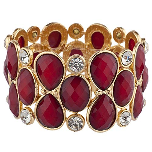 (Lux Accessories Gold Tone Red Burgundy Crystal Teardrop Shimmer Stretch Bracelet)