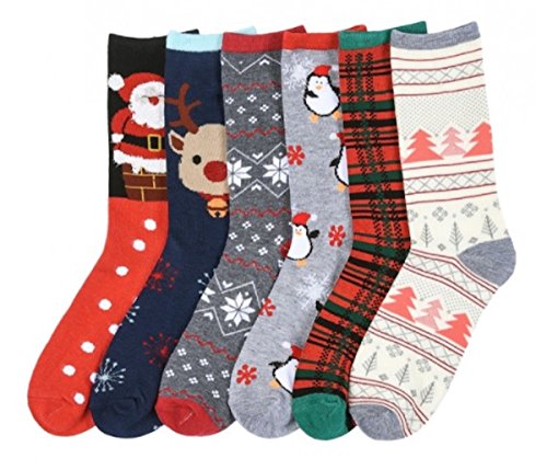I&S 6 Pairs Christmas Socks, Printed Fun Colorful...