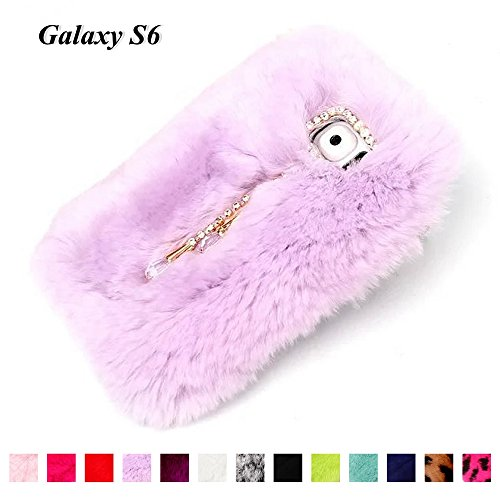 For Samsung Galaxy S6 Case,Fast Jewelry Luxury Absolute 3D Bling Diamond Crystal Chain Pendant Smooth Soft Touch Fur Fluffy Back Case Cover - Light Purple Chain Players Light Pendant
