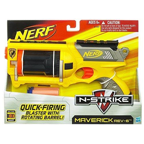 Nerf N-Strike Maverick REV-6 Toys, Colors May Vary - Nerf N-strike Maverick Blaster