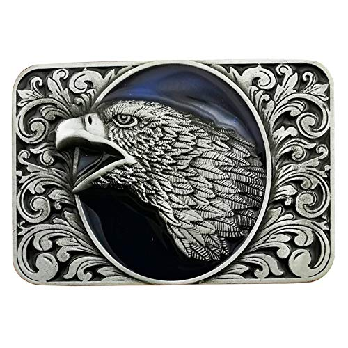 Lanxy Cool Native American Leaf Eagle Head Rectangles Belt Buckle For Mens Blue Enamel