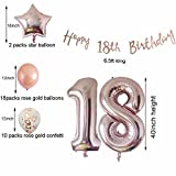 Cheeringup 18th Birthday Decorations Party Supplies-Rose Gold Confetti Latex Balloons-Happy 18th Birthday Banner as Gift for Girls,Boys,Men|Women Table Confetti Decorations,Photo Props,Party Favors